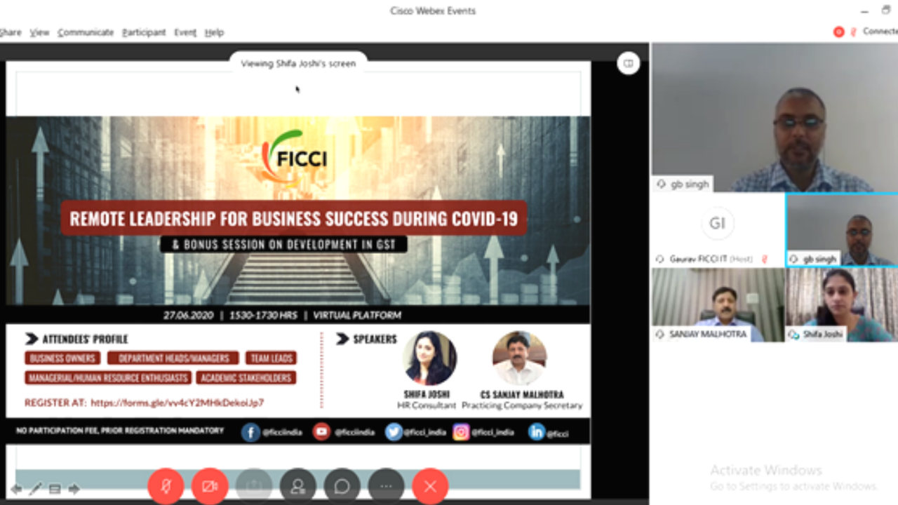 FICCI Online Session Remote Leadership for Business Success During COVID-19
